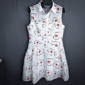 Betsey Johnson Dress Size 14 White Pink Womens